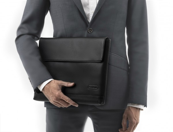 """Leather laptop sleeve 13.3"""" inch in black with model"""