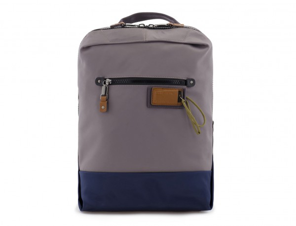 small backpack in gray front