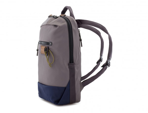small backpack in gray side