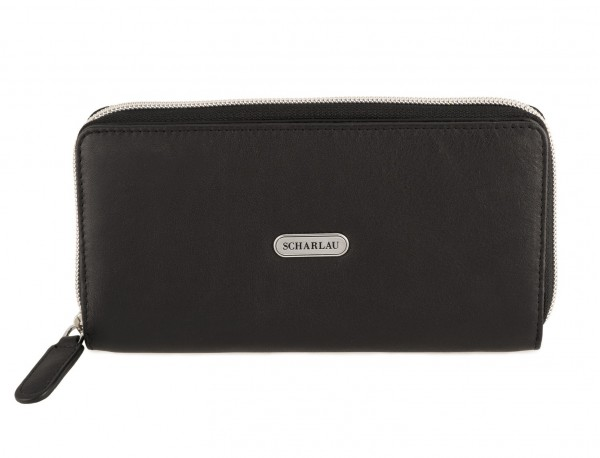 Leather women's wallet with coin pocket in black front