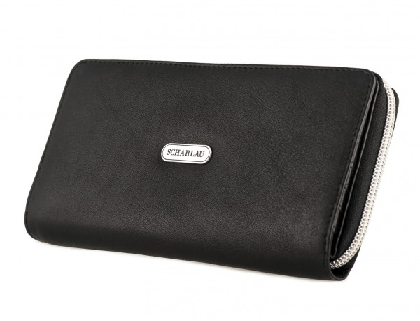 Leather women's wallet with coin pocket in black side