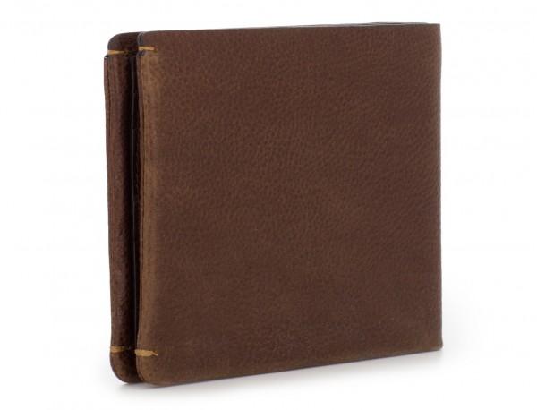 billetero de cuero con monedero marrón detrás