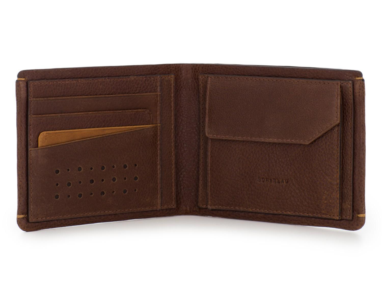 Portafoglio con portamonete in pelle marrone open