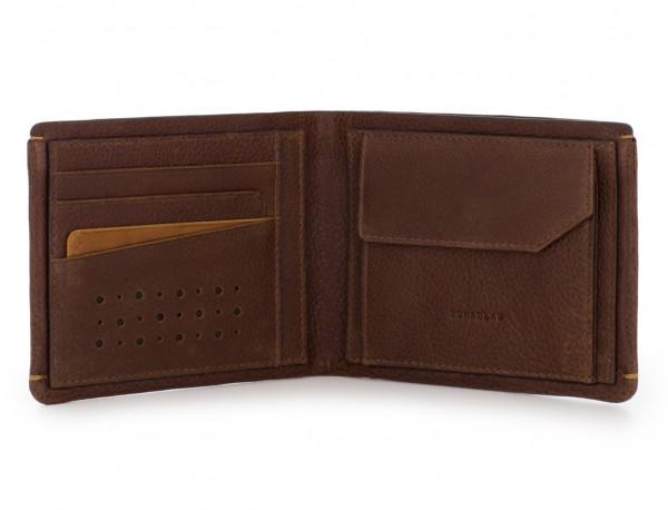 billetero de cuero con monedero marrón abierto