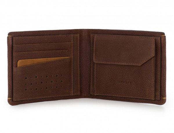 leather Wallet with coin pocket brown inside