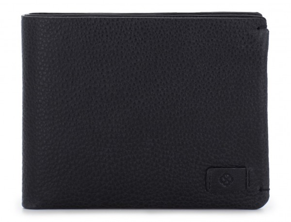 leather Wallet with coin pocket black front