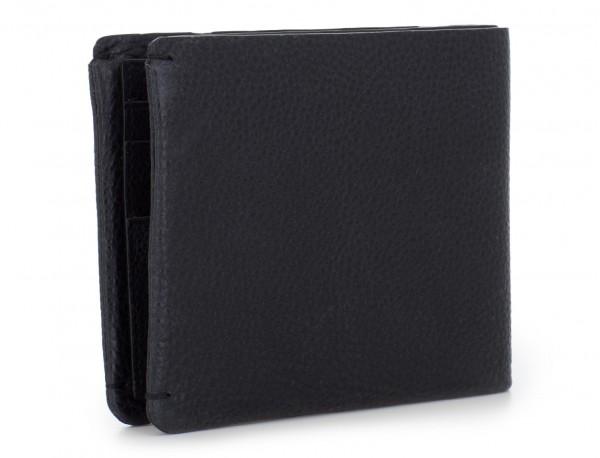 Portafoglio con portamonete in pelle nero back