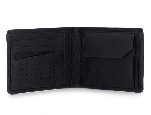 Portafoglio con portamonete in pelle nero open