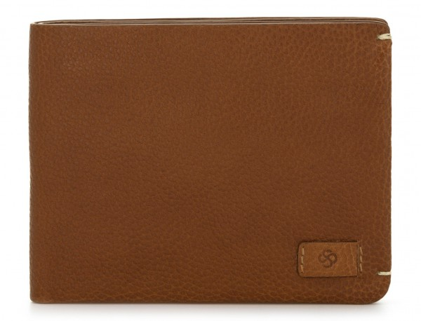 leather Wallet with coin pocket light brown front