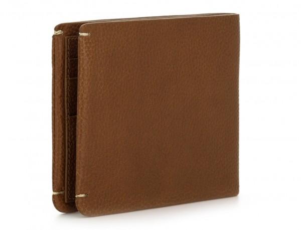billetero de cuero con monedero marrón claro detrás