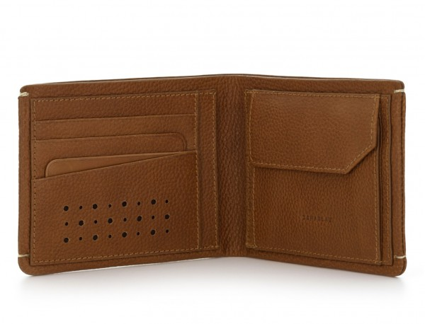 leather Wallet with coin pocket light brown inside