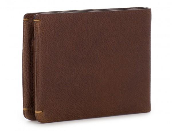 billetero de piel para tarjetas marrón detrás