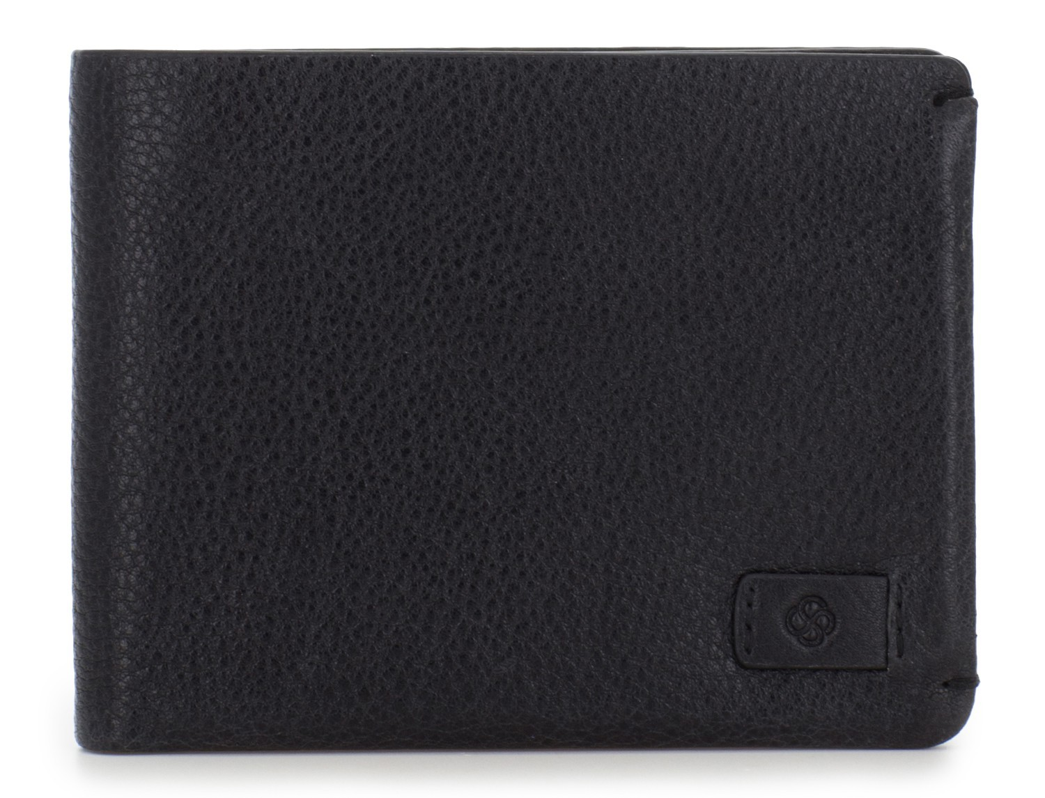 leather wallet for credit cards black front