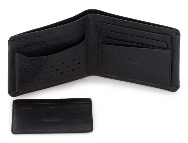 leather wallet for credit cards black open