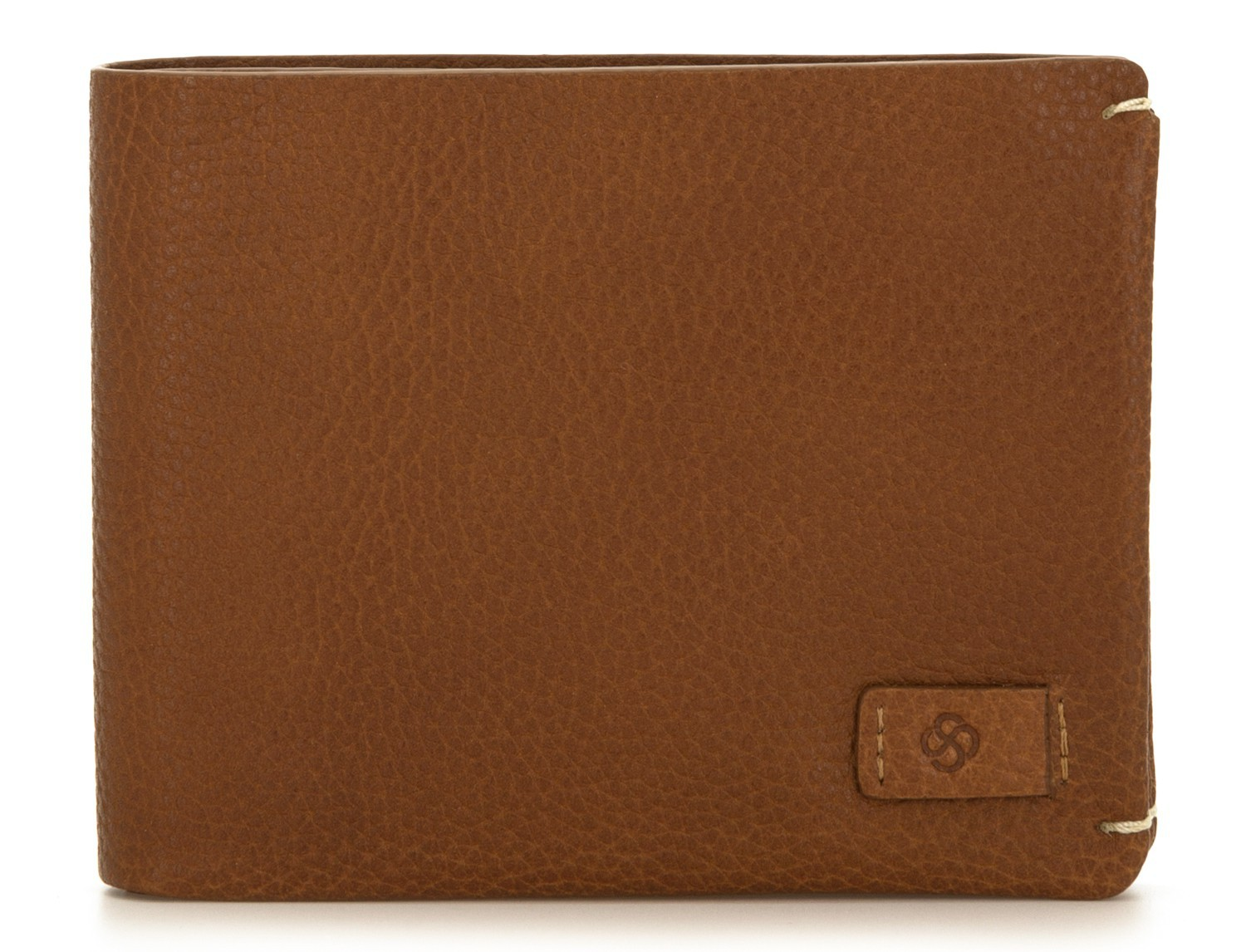 leather wallet for credit cards light brown front