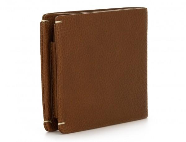 billetero de piel para tarjetas marrón claro detrás