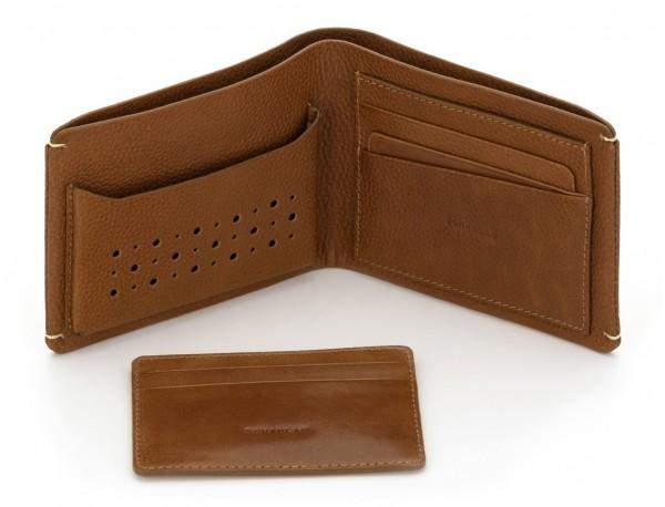 billetero de piel para tarjetas marrón claro abierto