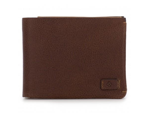 Portafoglio orizzontale con porta carte in pelle marrone front