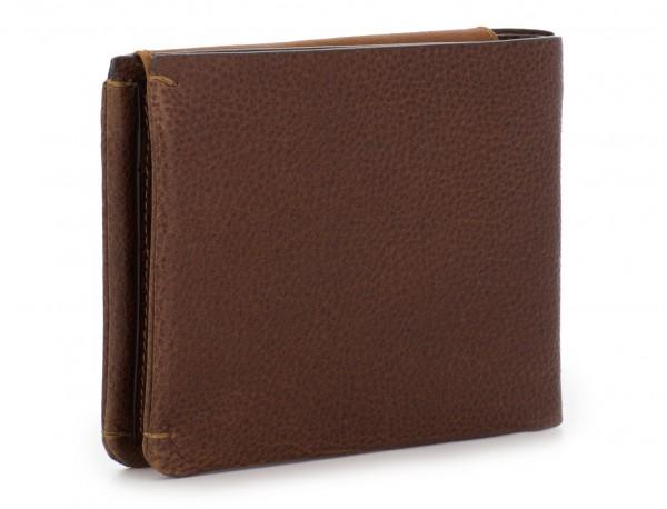Portafoglio orizzontale con porta carte in pelle marrone side