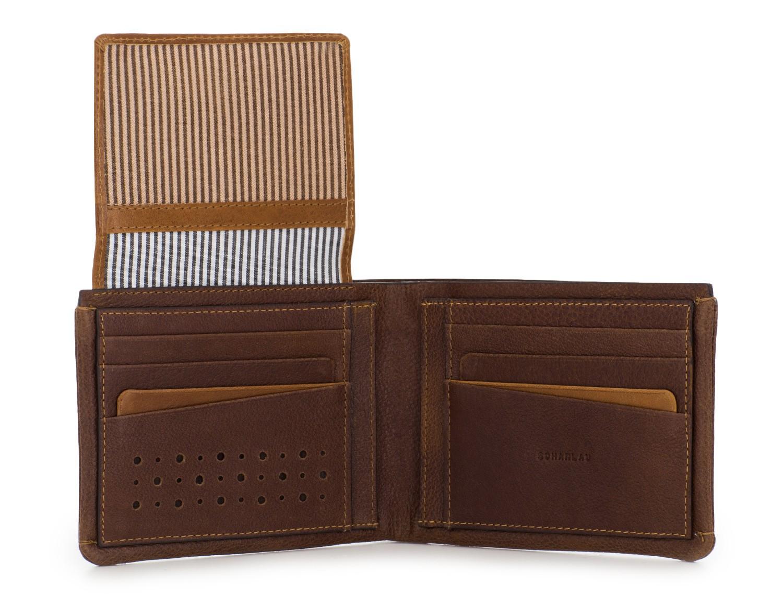 Portafoglio orizzontale con porta carte in pelle marrone open