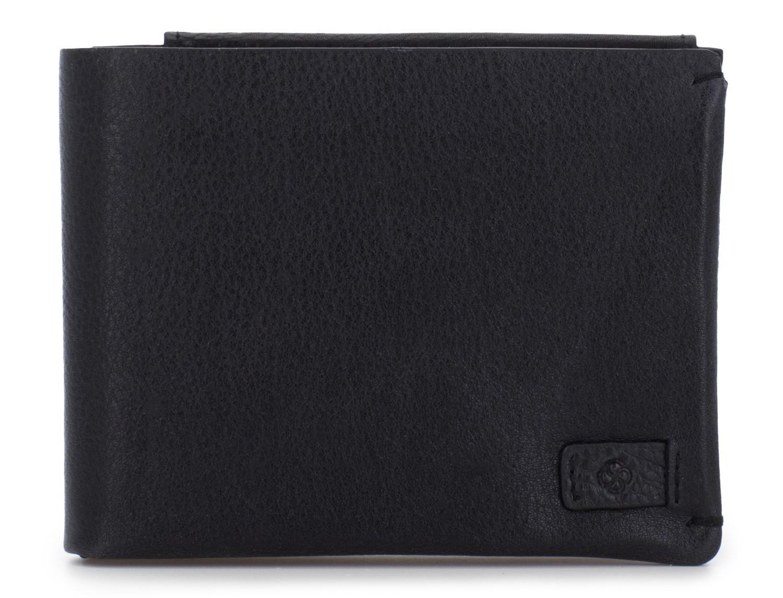 Portafoglio orizzontale con porta carte in pelle black front