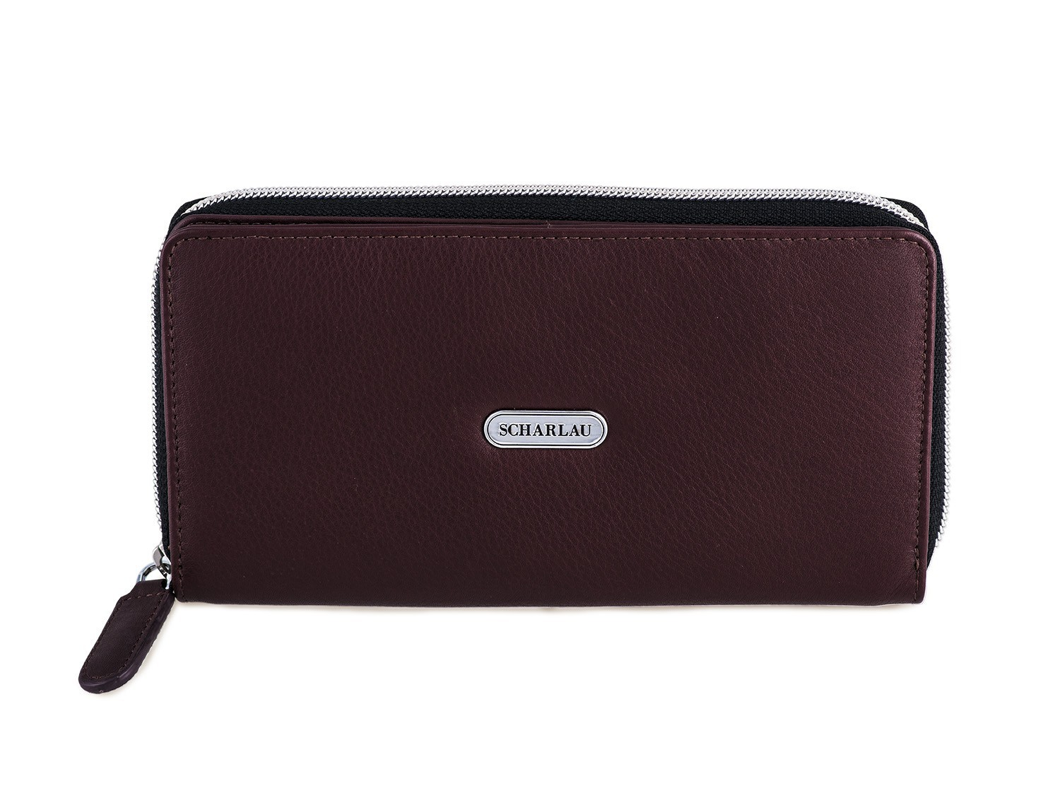 Leather women's wallet with coin pocket in burgundy front