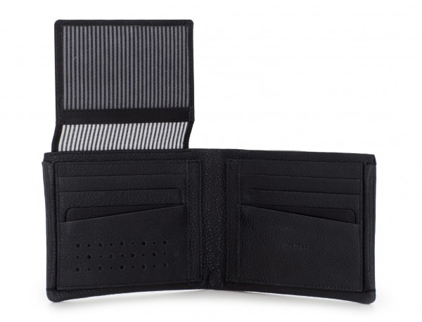 leather wallet with card holder black open