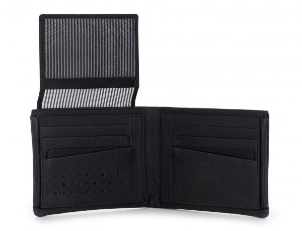 Portafoglio orizzontale con porta carte in pelle black open
