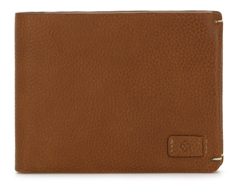 Portafoglio orizzontale con porta carte in pelle marrone chiaro front