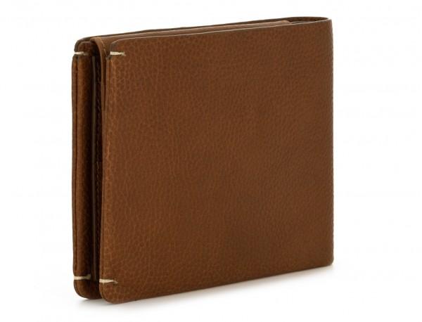Portafoglio orizzontale con porta carte in pelle marrone chiaro side