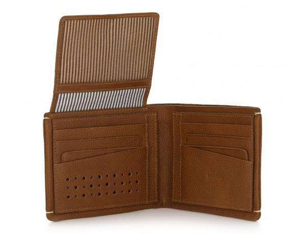 Portafoglio orizzontale con porta carte in pelle marrone chiaro open