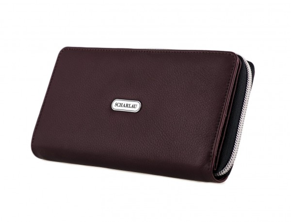 Leather women's wallet with coin pocket in burgundy side