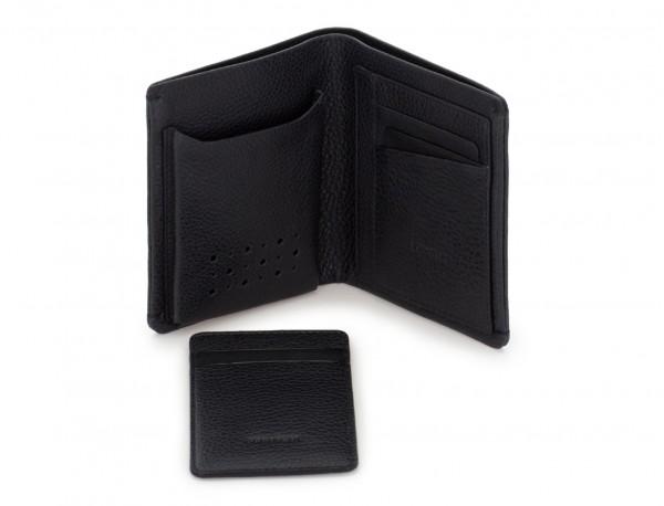 billetero de piel vertical negro abierto