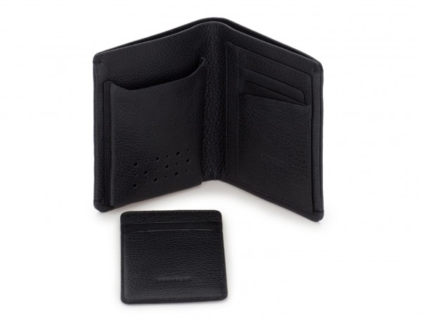 vertical wallet with card holder black abierto