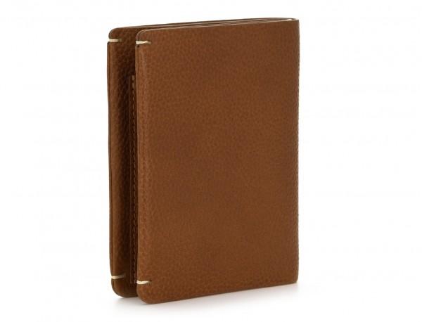 Portafoglio verticale porta carte marrone chiaro side