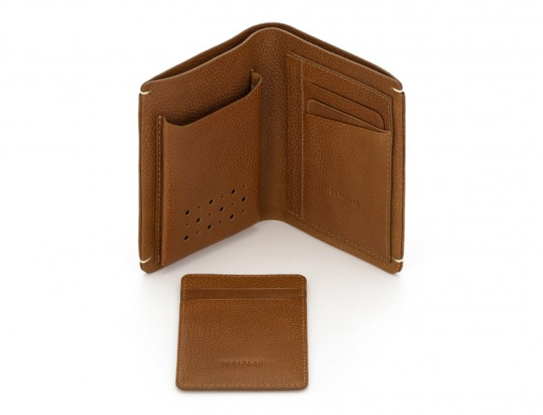 vertical wallet with card holder light brown open