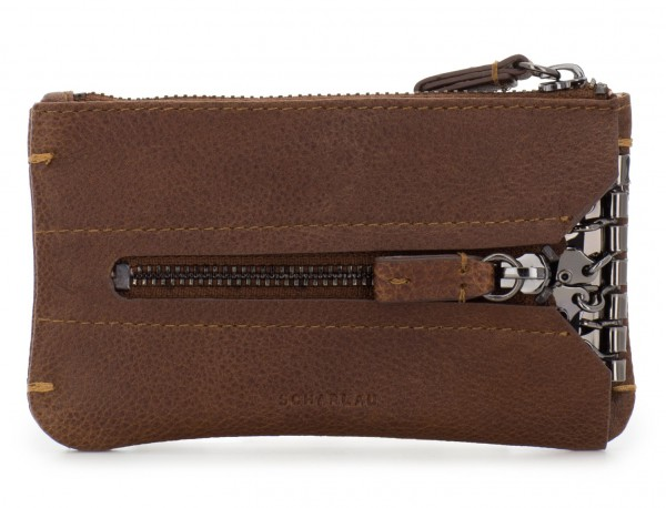 Key holder wallet with coin pocket brown frontal