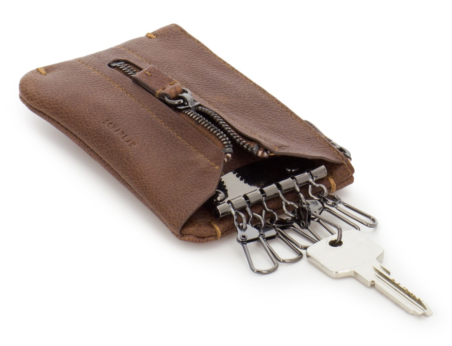 Key holder wallet with coin pocket brown lado