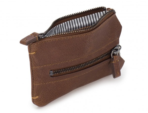 Key holder wallet with coin pocket brown abierto