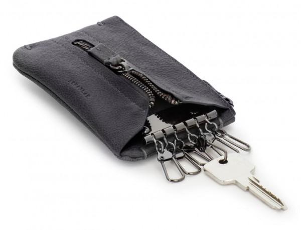 Key holder wallet with coin pocket black front