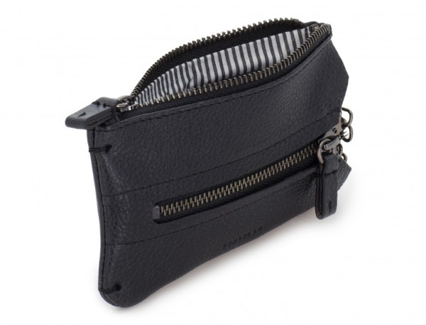 Key holder wallet with coin pocket black open