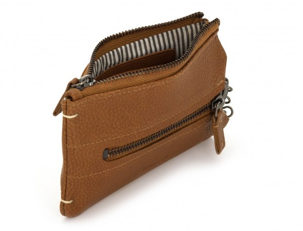 Key holder wallet with coin pocket light brown abierto