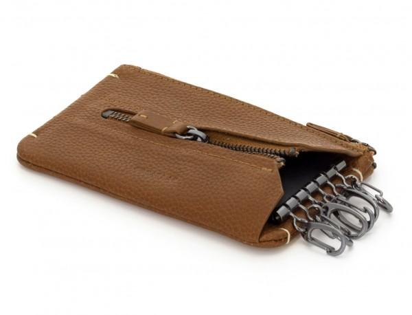 Key holder wallet with coin pocket light brown inside