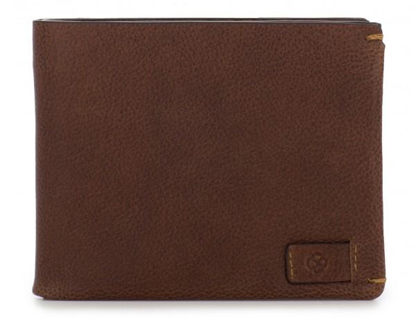 Mini portafoglio con portamonete in pelle marrone  open
