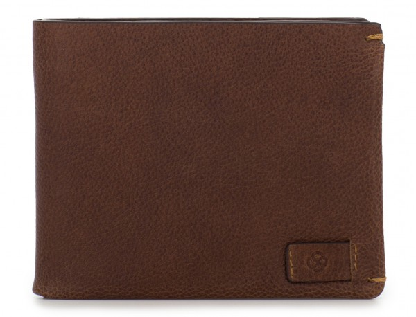leather mini wallet with coin pocket brown open