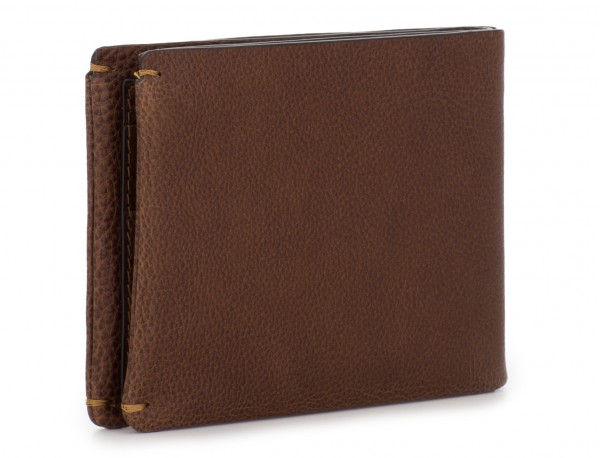 leather mini wallet with coin pocket brown side
