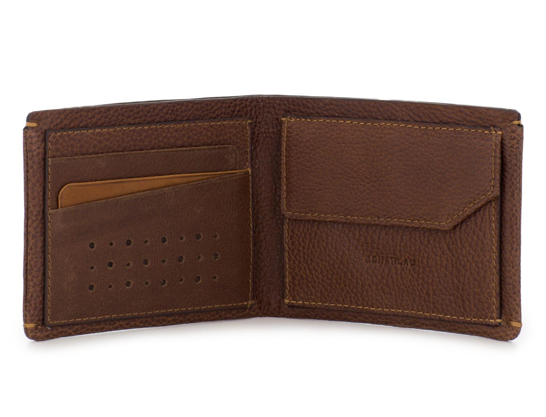 Mini portafoglio con portamonete in pelle marrone front