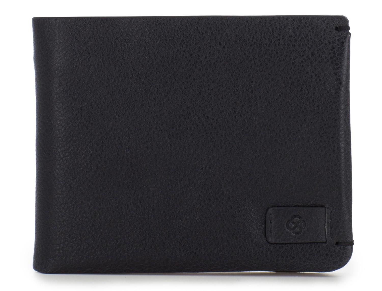 Mini portafoglio con portamonete in pelle nero front