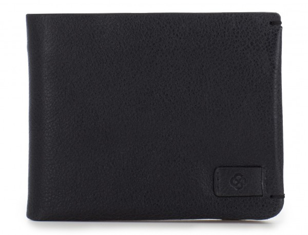 leather mini wallet with coin pocket black front
