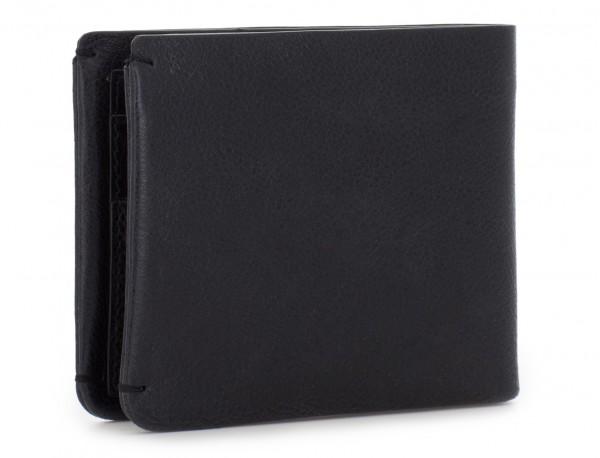 Mini portafoglio con portamonete in pelle nero side